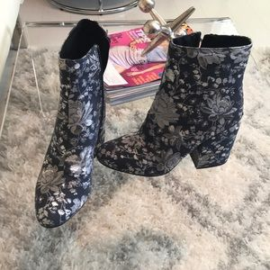 Merona denim and silver floral boots